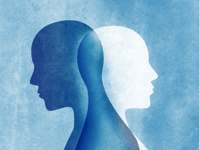 blue and white painting of two heads that overlap - Co-Occurring Diagnoses